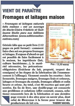 Fromages laitages in 3 hebdos ruraux